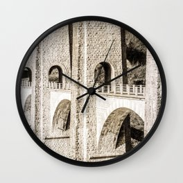 Old french stone bridge arch architecture in Rhone-Alpes Wall Clock