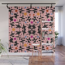 Pink And Black With Colored Circles Wall Mural