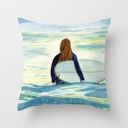 Surfer Girl in Sunlight Watercolor Art Throw Pillow