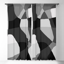 Mid Century Modern Abstract Rock Layers Charcoal Blackout Curtain