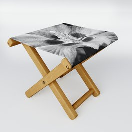 Black and white hibiscus Folding Stool