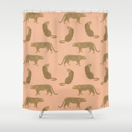 sunset leopards Shower Curtain