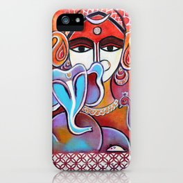 Ganesha with Mom Parvati Shiva trishul and Peacock iPhone Case