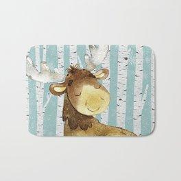 Winter Woodland Friends Deer Moose Snowy Forest Illustration Bath Mat