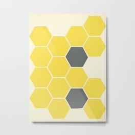 Yellow Honeycomb Metal Print