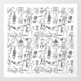 Black and white cats Art Print