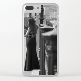 Black white model Clear iPhone Case