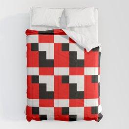 Red black step pattern Comforters
