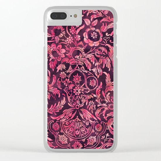 Watercolor Damask Pattern 01 Clear iPhone Case