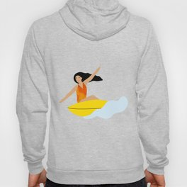 Girl surfing on a yellow board Hoody