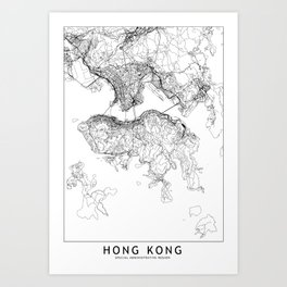 Hong Kong White Map Art Print