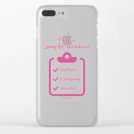 Coffee Camping Javelin I Novelty for Women Javelin Thrower Clear iPhone Case