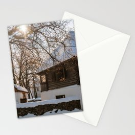 Winter tale in an old Romanian village Stationery Cards