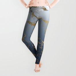 Modern grey navy blue ombre gold marble pattern Leggings