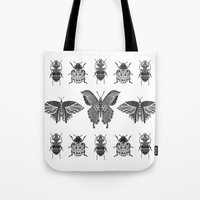 insects Tote Bags featuring insects by Textile Candy