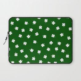 White Shamrocks Green Background Laptop Sleeve