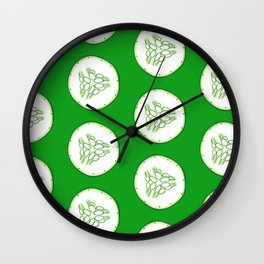 Cucumber slices pattern, green background Wall Clock