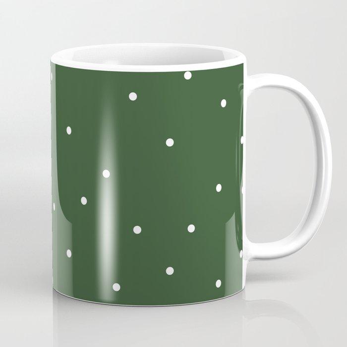 messy polka dots on green Coffee Mug