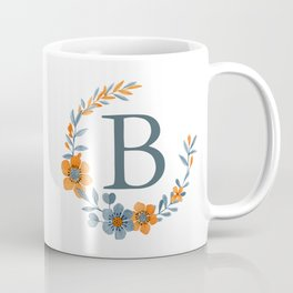 Monogram B Orange Autumn Floral Wreath Coffee Mug