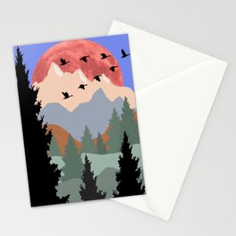 Mountain Geese Scene Stationery Cards
