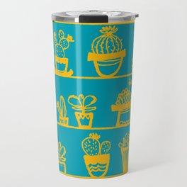 Cactus 28 turquoise yellow Travel Mug