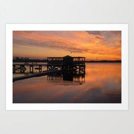 Orange Glow Sunset Over Chasewater Art Print