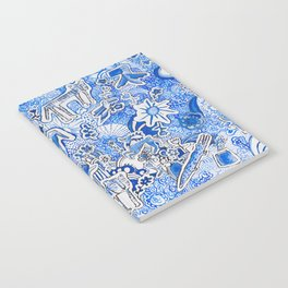 Delft Blue and White Pattern Painting with Lions and Tigers and Birds Notebook