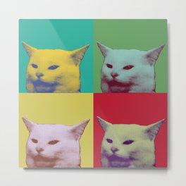 Pop art yelling cat meme Metal Print
