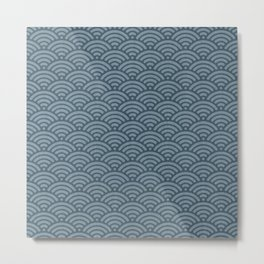 Blue Indigo Denim Waves Metal Print