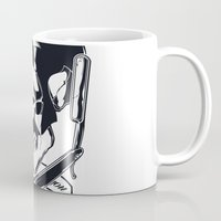 rock n roll Mugs featuring Rock n roll skull by Shulyak Brothers