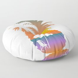 Summer Fruit Cool Pineapple Graphic T-shirt Sun Beach Palm Tree Sunbathe Birds Chair Sand Design Floor Pillow