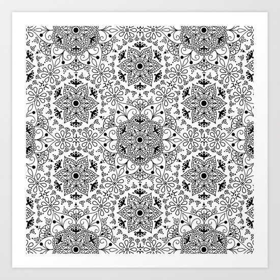 Mandala_White and Black Art Print