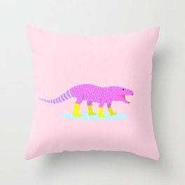 DINO IN RAINBOOTS Throw Pillow