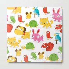 Happy Pet Shop Animals Pattern Metal Print