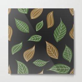 Leaves autumn fall brown green art pillow pattern home decor Metal Print