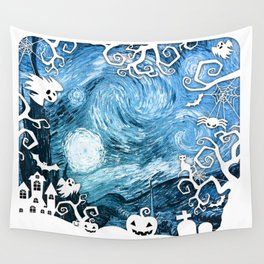 Halloween in Starry Night Wall Tapestry