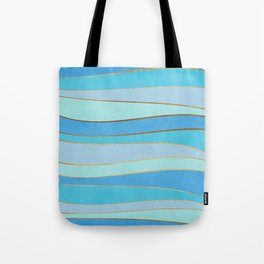 Waves Pattern - Golden Glitter Tote Bag