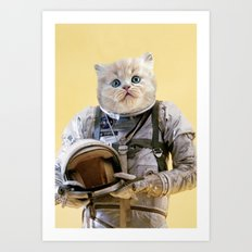 Space Kitten Yellow Art Print