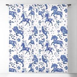 Delft Blue Horses Blackout Curtain