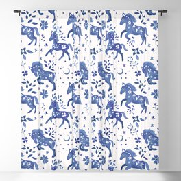 Delft Blue Horses Blackout Curtain