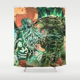 Cthulhu vs Godzilla Shower Curtain