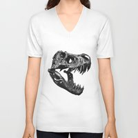 t rex V-neck T-shirts featuring T Rex by Sascha Selli