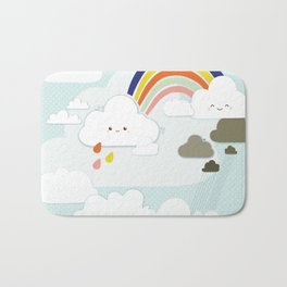 Cute clouds & rainbow Bath Mat