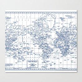 World Map Blue on White Canvas Print
