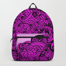 Squirrels Zentangle Drawing Pink Backpack