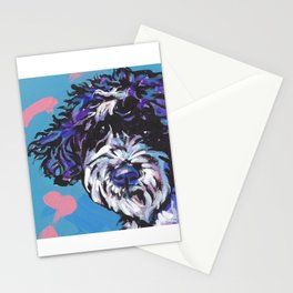 PWD Portuguese Water Dog Fun bright colorful Pop Art Dog Paintingby Lea Stationery Cards