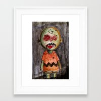 charlie brown Framed Art Prints featuring You're a zombie Charlie Brown by byron rempel