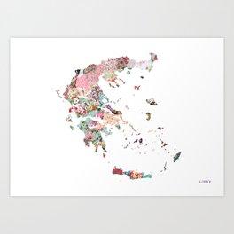 Greece map liberty Art Print