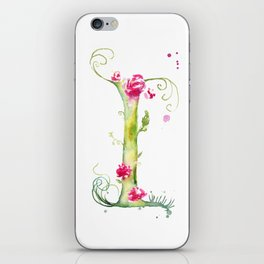 Letter I watercolor - Watercolor Monogram - Watercolor typography - Floral lettering iPhone Skin