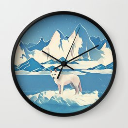 Wolf and the blue mountain Wall Clock